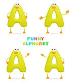 Funny alphabet. Isolated a fun cartoon character A on a white background Stock Photography