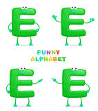Funny alphabet. Isolated a fun cartoon character E on a white background Stock Photos