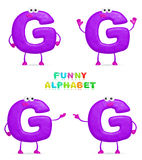 Funny alphabet. Isolated a fun cartoon character G on a white background Royalty Free Stock Images