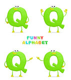 Funny alphabet. Isolated a fun cartoon character Q on a white background Royalty Free Stock Image