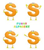 Funny alphabet. Isolated a fun cartoon character S on a white background Royalty Free Stock Images