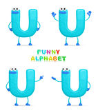 Funny alphabet. Isolated a fun cartoon character U on a white background Royalty Free Stock Photo