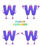 Funny alphabet. Isolated a fun cartoon character W on a white background Stock Image