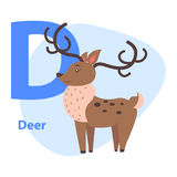 Funny Alphabet with Cartoon Animal Blue Letter D Royalty Free Stock Image
