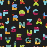Funny alphabet of cartoon characters for kids design seamless pattern. Vector font letters of comic monster creature faces with eyes, mouth smile and mustaches stock illustration