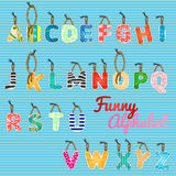 Funny alphabet, color hanging letters Stock Image