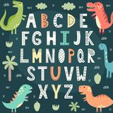 Funny alphabet with cute dinosaurs. Educational poster for children. Vector illustration royalty free illustration