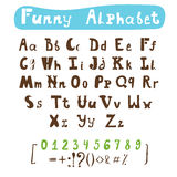 Funny alphabet. Hand drawn calligraphic font. ABC painted letter Royalty Free Stock Photography