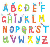 Funny alphabet for kids with flowers. And birds Royalty Free Stock Photography