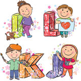 Funny alphabet with kids IJKL Stock Image