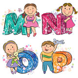 Funny alphabet with kids MNOP Royalty Free Stock Image