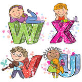 Funny alphabet with kids VWXU Stock Image