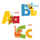 Funny alphabet. Letters A, B, C Royalty Free Stock Image