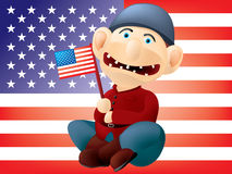 Funny American soldier. Layered and grouped illustration for easy editing Stock Photography