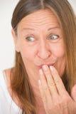 Funny amused happy mature woman Stock Photos