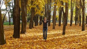 Funny and amusing curly man dancing in the autumn park. Leaf fall in a town in sunny day. Beautiful nature. Funny and amusing guy dancing in the autumn park stock video