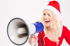 Funny amusing woman talking in speaker Royalty Free Stock Photos