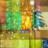 Funny angel and Christmas tree Stock Photos