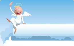 Funny angel sits on white banner. Funny angel sits on banner in clouds and waving Stock Illustration