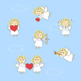 Funny angels in heaven Stock Photo