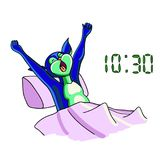 A funny animal alien wakes up with an alarm clock and stretches. Royalty Free Stock Photos