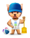 Funny animal in baseball cap holding shovel. Concept summer holidays, travel vacation concept. Realistic 3D illustration Stock Photography