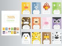 Funny animal calendar 2018 design,The year of the dog monthly cards templates,Set of 12 month,Monthly kids,Vector illustrations. Funny animal calendar 2018 Royalty Free Stock Photo