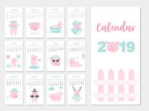 Funny animal calendar 2019 design,The year of the pig monthly cards templates,Set of 12 month,Monthly kids,Vector illustrations. Funny animal calendar 2019 Vector Illustration