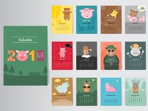 Funny animal calendar 2019 design,The year of the pig monthly cards templates,Set of 12 month,Monthly kids,Vector illustrations. Funny animal calendar 2019 Royalty Free Illustration