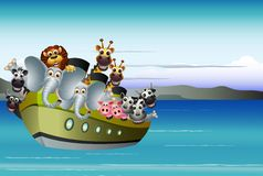 Funny animal cartoon on big steamship Royalty Free Stock Photography