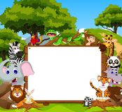 Funny animal cartoon with blank sign and forest background Stock Photos