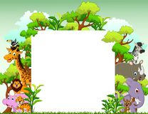Funny animal cartoon with blank sign and tropical forest background Royalty Free Stock Photo