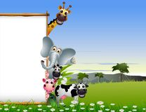 Funny animal cartoon with blank sign and tropical forest background Stock Photos