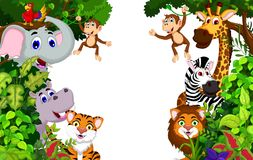 Funny animal cartoon with forest background Stock Photos