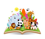 Funny Animal Cartoon in the forest on the book Stock Images