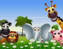 funny animal cartoon with nature background Royalty Free Stock Photo