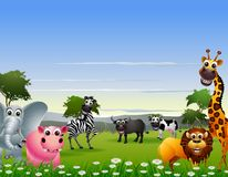 Funny animal cartoon with nature background Stock Images
