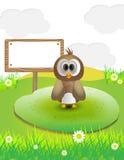 Funny animal cartoon with text sign Stock Photos