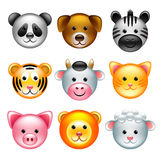 Funny animal faces icons vector set Stock Photo