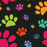 Funny animal footprint seamless pattern, cat paw, vector Stock Photo