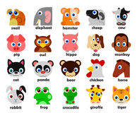 Funny Animal heads set Vector illustration Stock Photos