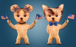 Funny animal holding USA flag. Concept of 4th of July. Funny animal holding USA flags and wearing bow tie. Concept of 4th of July and Independence Day, Realistic Stock Illustration