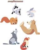 Funny Animal illustration Set Royalty Free Stock Photography