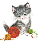 Funny animal Kitten. watercolor Royalty Free Stock Photo