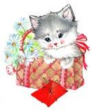 Funny animal Kitten. watercolor royalty free illustration