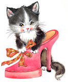 Funny animal Kitten. watercolor Stock Photos