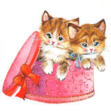 Funny animal Kitten. watercolor vector illustration