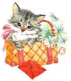 Funny animal Kitten. watercolor stock illustration