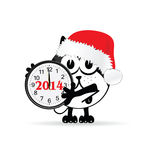 Funny animal with new year clock vector. Illustration Royalty Free Stock Photo