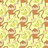 Funny animal pattern with monkey and bananas Royalty Free Stock Photography
